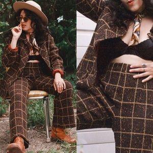 Vintage Jackets & Coats - TRUE VINTAGE 1970s THREE-PIECE TWEED POLY SUIT